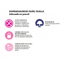 DT0203 | Dispensador de papel toalla C/Z.  Pared