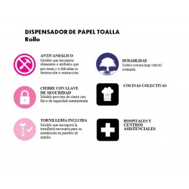 DTP025CS |Dispensador papel toalla | Rollo