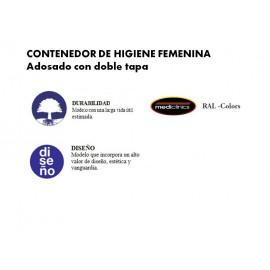 PP0010RAL | Contenedor de higiéne femenina adosado con doble tapa